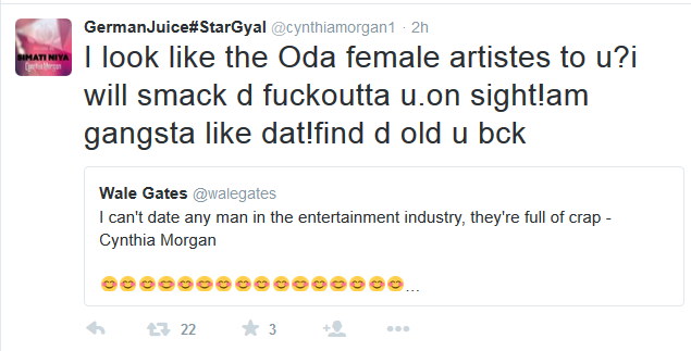 Cynthia Morgan Slams Wale Gates