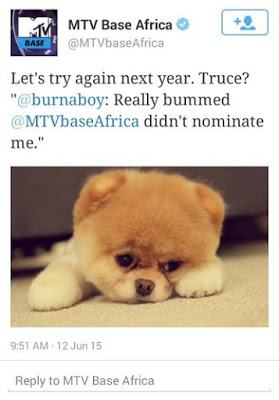 MTV Base's funny response to Burna Boy's twitter rant over nominee list