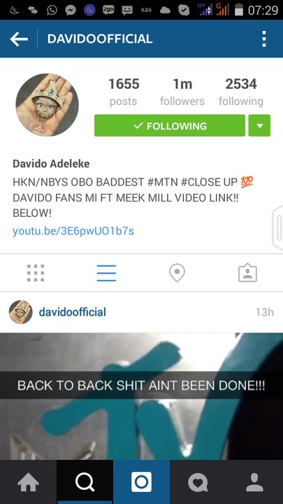 Davido becomes the first Nigerian celebrity to reach 1,000,000 followers on Instagram
