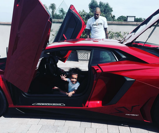 Chris Brown's daughter rides in his new Lamborghini Aventador 'SV'