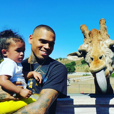 Chris Brown visits the zoo with his daughter Royalty