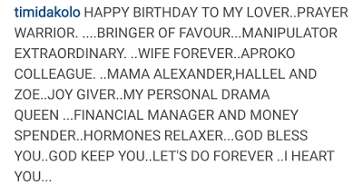 Timi Dakolo's loving birthday message
