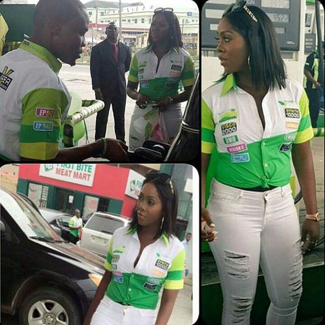 Tiwa Savage Looks Sexy as Ever As She Sells Petrol in Lagos