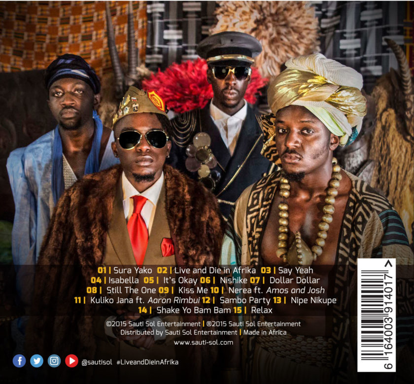 Sauti Sol - Live and Die in Afrika [Back Cover]