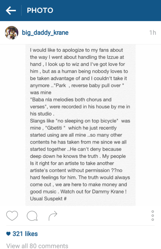 Dammy Krane Finally Apologises to Wizkid for Twitter Rants