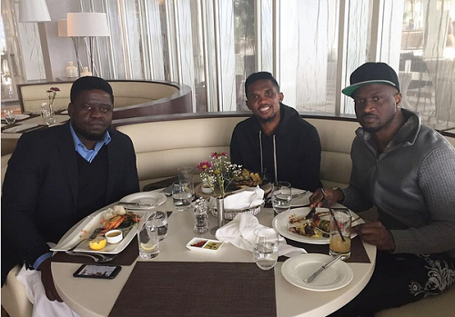 Peter Okoye Pictured with Samuel Eto