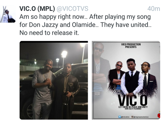 See Vic O's response to Don Jazzy, Olamide reconciliation