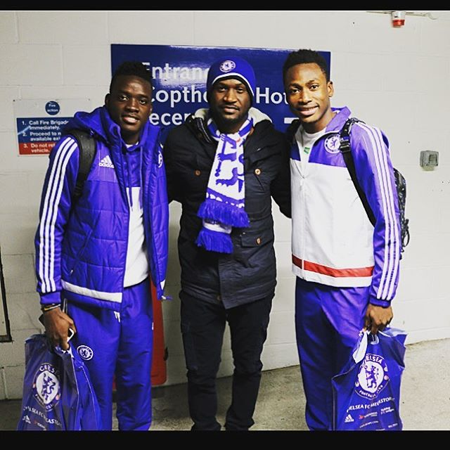 Bertrand Traore and Baba Rahman with Peter