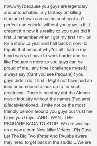 Cynthia Morgan message Psquare