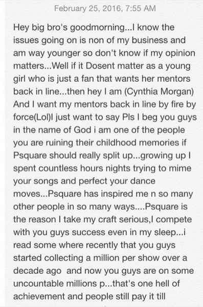 Cynthia Morgan message to Psquare