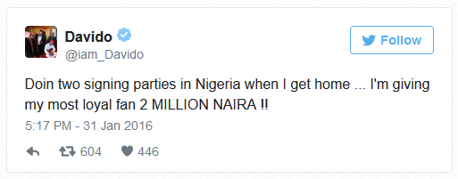 Davido Set to gift his Most Loyal Fan with N2million