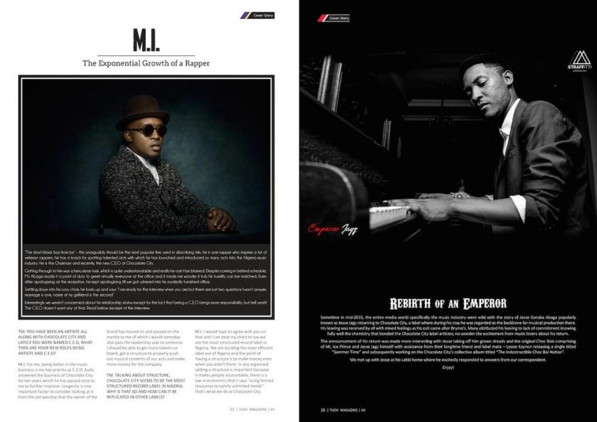 M.I and Jesse Jags Cover 12th Edition of Tush Magazine