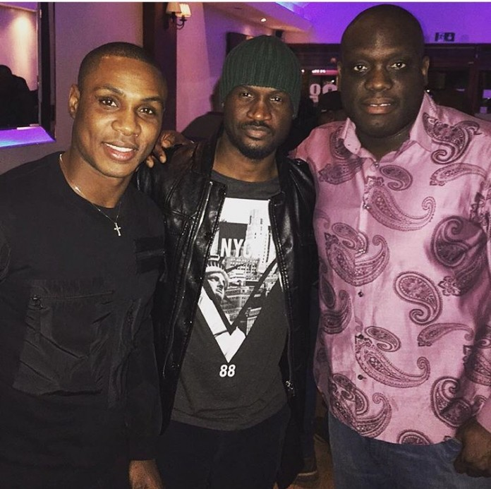 Peter Okoye of Psquare Pictured with Odion Ighalo in London