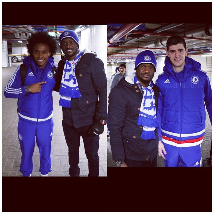 Willian and Courtois with Peter
