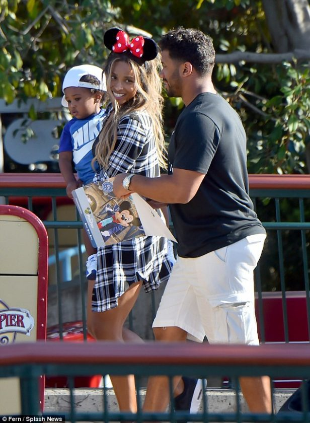 Ciara and Russell Wilson take her son to Disneyland
