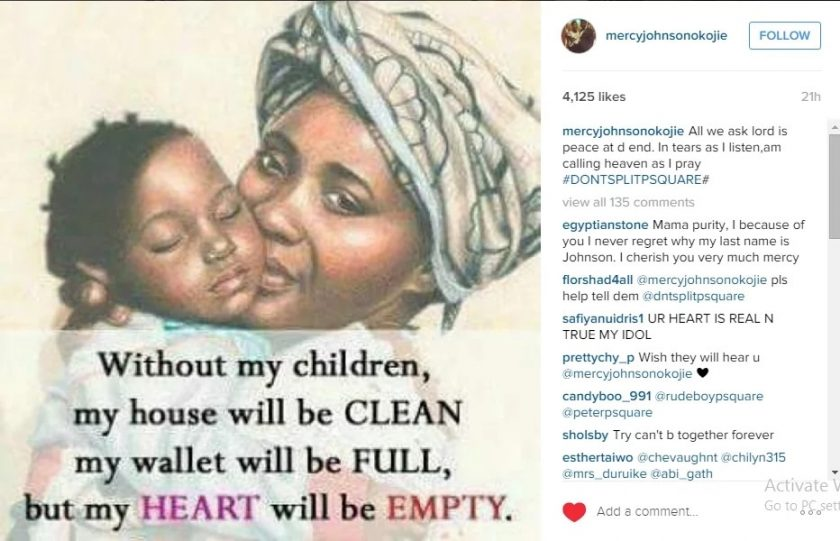 Mercy Johnson Begs Psquare not to Split