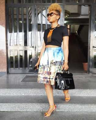 Yemi Alade Looking Cute in this Colourful Dress