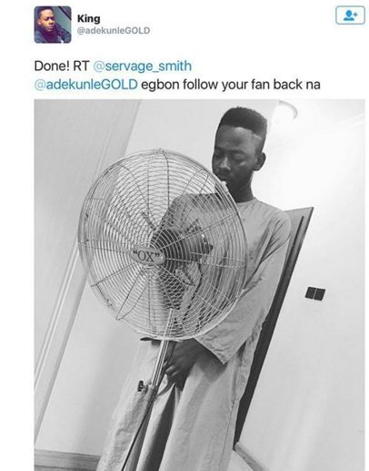Adekunle Gold's Hilarious Reply to His Fan who asked for a Followback