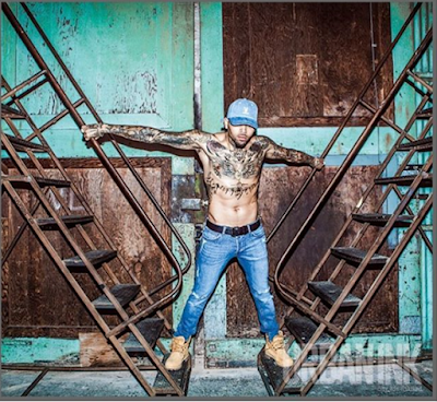 Chris Brown shirtless and sexy for Urban Ink magazine