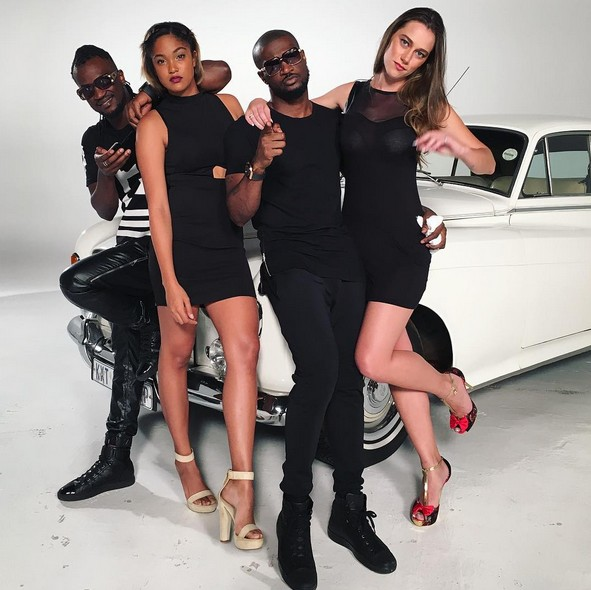 P Square on set of new music video shoot with sexy models