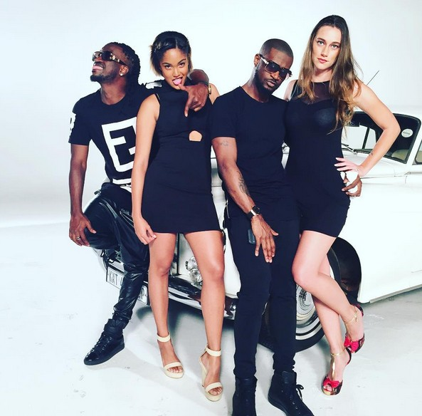 Psquare on set with sexy models