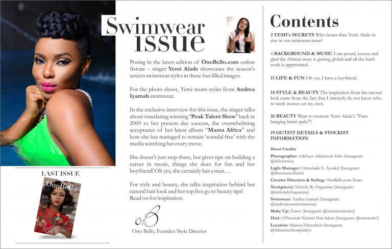 Yemi Alade Looks Super Hot In Bikini As She Graces OnoBello's Swimsuit Issue
