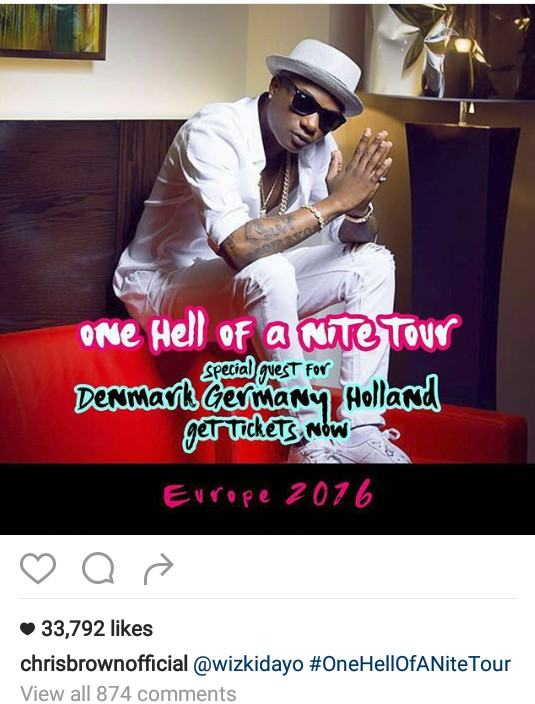 "Chris Brown confirms Wizkid is joining him on his ""One Hell Of A Nite Tour"""