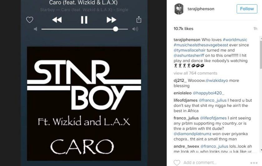 Taraji P Henson Shares Addiction to Wizkid's Song