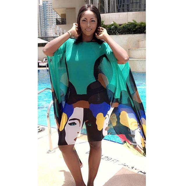Tiwa Savage & Son Jamil Hit the Pool in Dubai