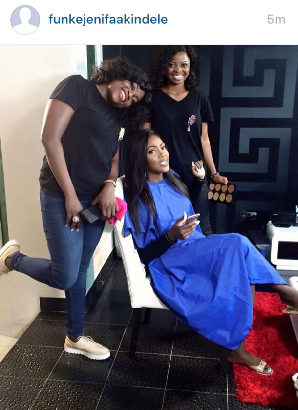 Tiwa Savage Joins Funke Akindele On The Set