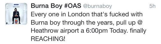 Burna Boy's arrival in London