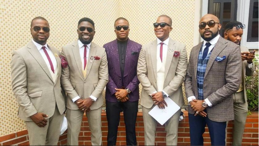 Groomsmen with Banky W and Tunde Demuren - Noble Igwe and Chioma Otisi Wedding