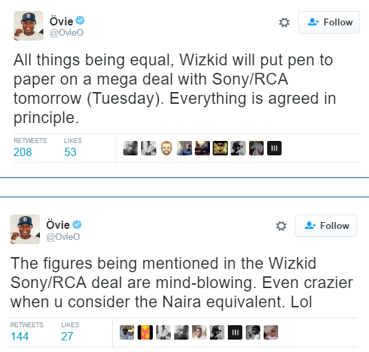 Ovie tweets - Wizkid to sign mindblowing mega deal
