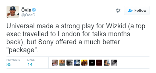 Ovie tweets about wizkid Sony deal