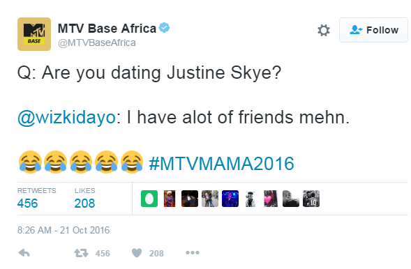 Wizkid's response when MTV Base asked if he's dating Justin Skye