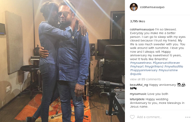 Cobhams Asuquo pours praises on wife for their 6th Wedding Anniversary