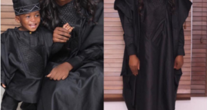 Tiwa Savage & Her Son Jamil Step Out In Matching 'Agbada' Outfit