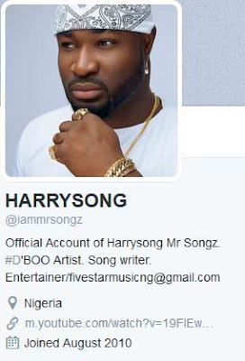Harrysong Removes Alter-Plate Info From His Social Media Accounts