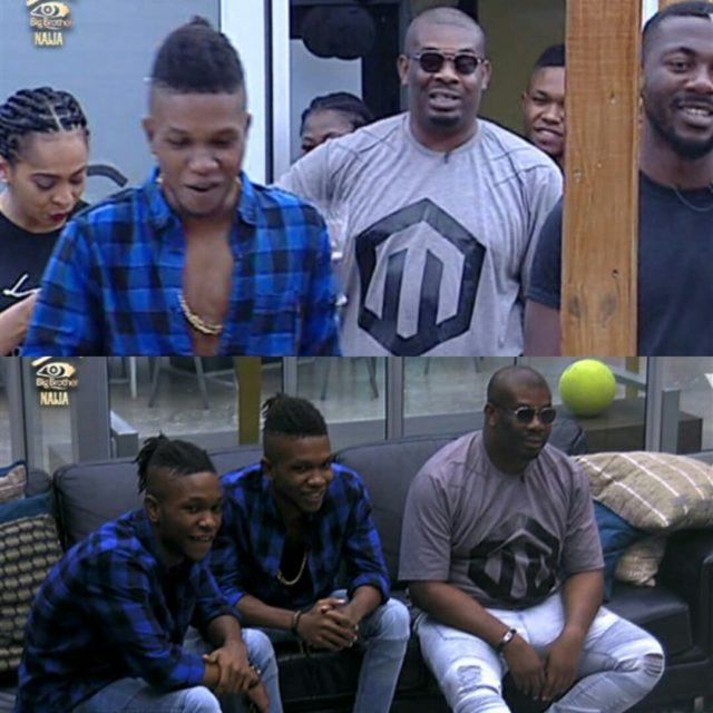 Don Jazzy and DNA twins visits the BBN housemates
