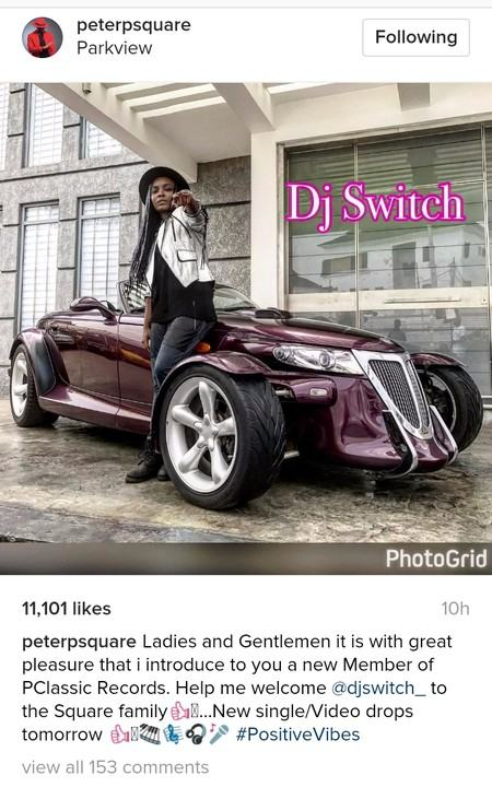 Peter Okoye signs DJ Switch