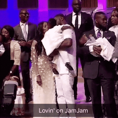 Tiwa, Teebillz and their son Jamil in church