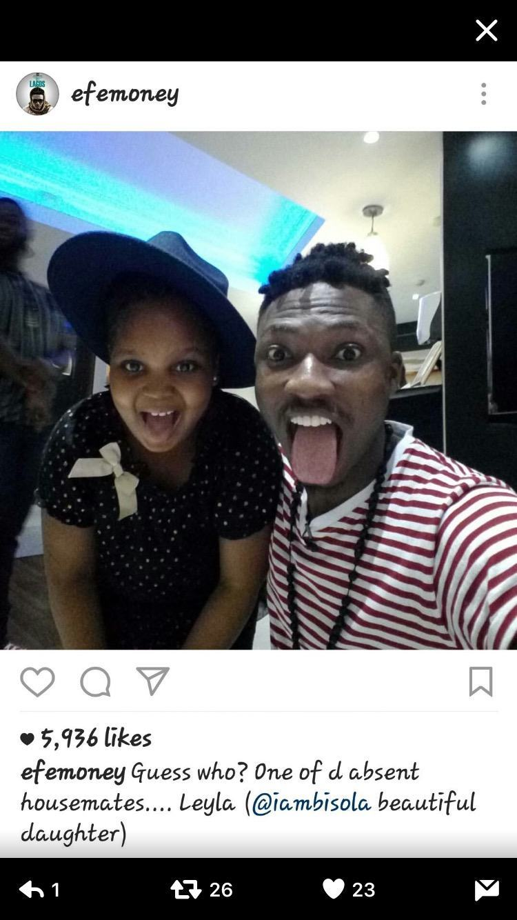 Efe Poses With Bisola's Beautiful Daughter Leyla