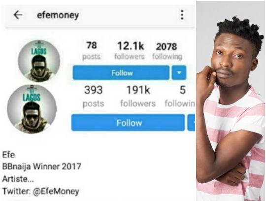 Efe unfollows over 2000 friends on Instagram