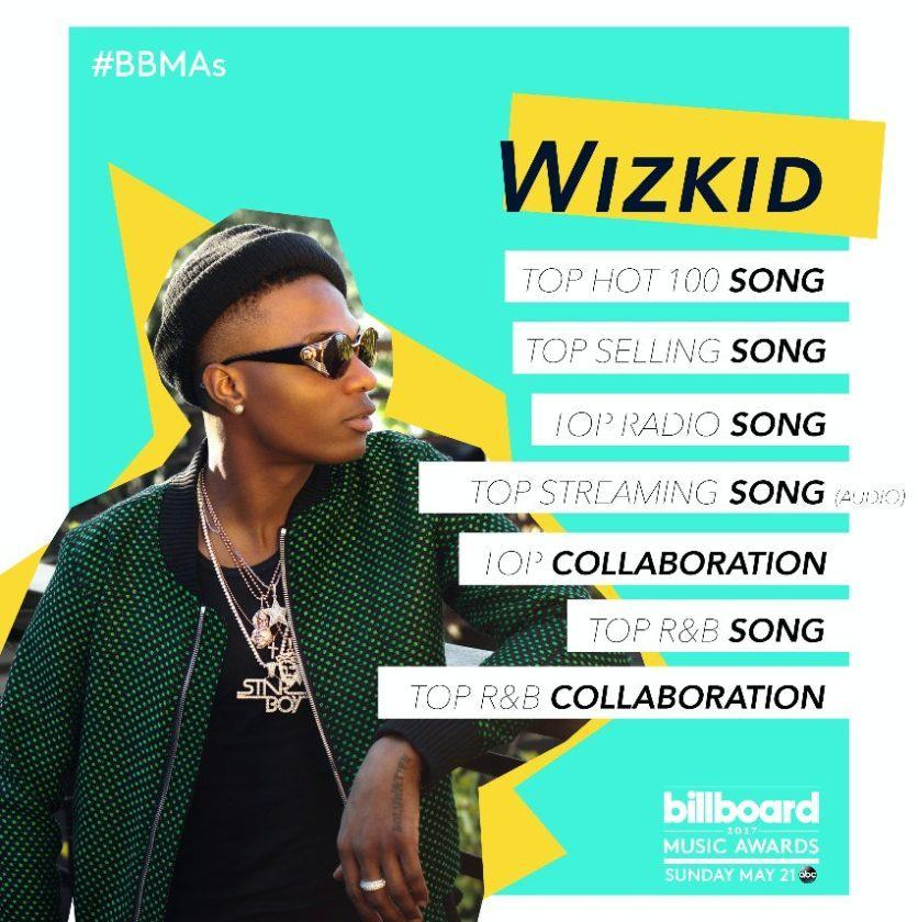Wizkid Nominated With Drake For 7 Billboard Music Awards