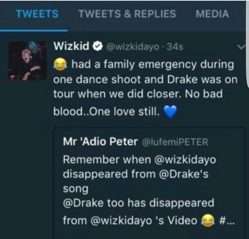 Wizkid explains Drake's absence from come closer video