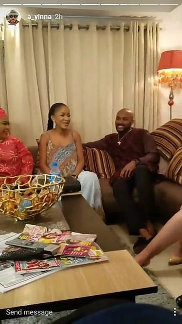 Banky W and fiance pictured on set 'The Wedding Party 2'
