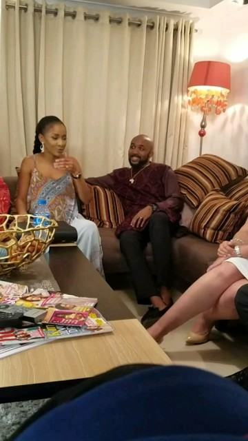 Banky W and fiance pictured on set The Wedding Party 2 NaijaVibe