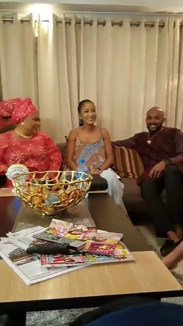 Banky W and fiance pictured on set The Wedding Party 2
