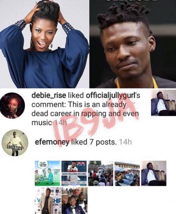Debie-Rise 'Agrees' with fan who says Efe's career is dead