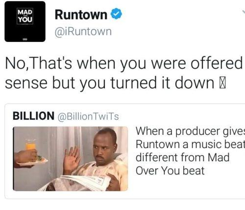 runtown clapback at fan
